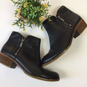 Lucky Brand Basel Ankle Zip Black Leather Booties